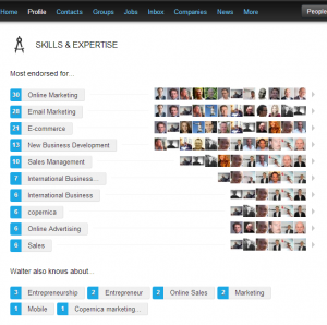 Endorsements on Linkedin